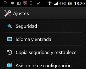 Interface de Ajustes, en Android