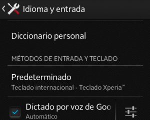 "Interface de ""Idioma y entrada"", en Android"